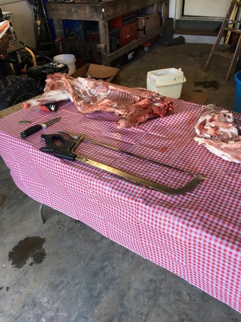 Pork cut on table