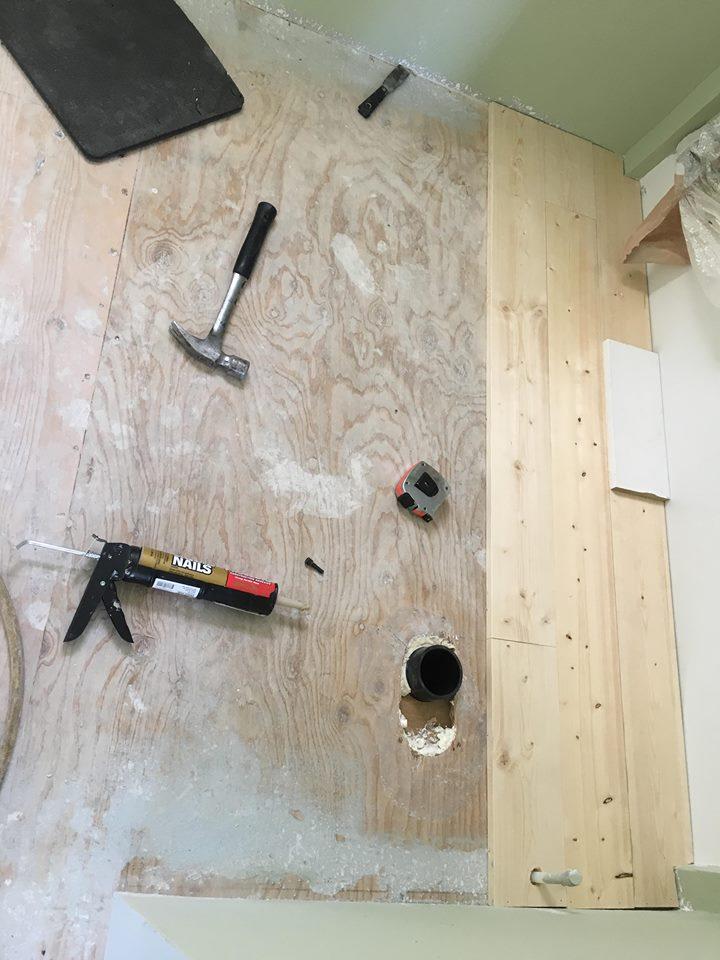 start of bathroom floor