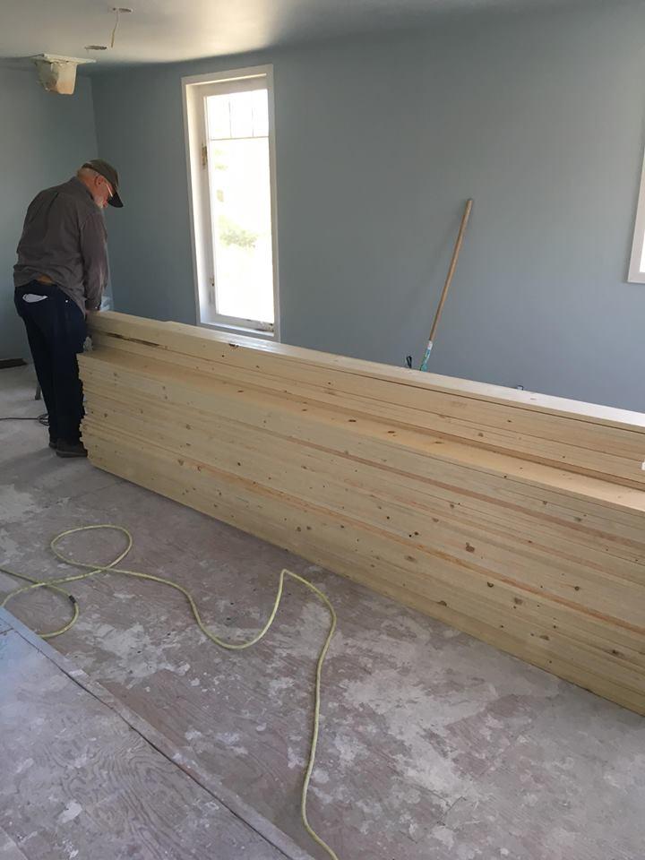 wood floor pile